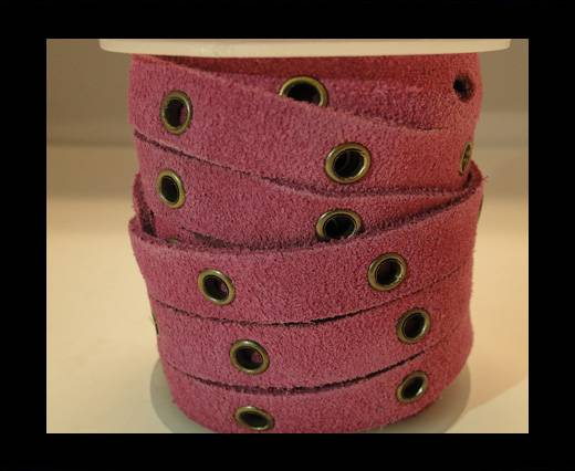 Real Suede Leather with Rivet -Pink-10mm