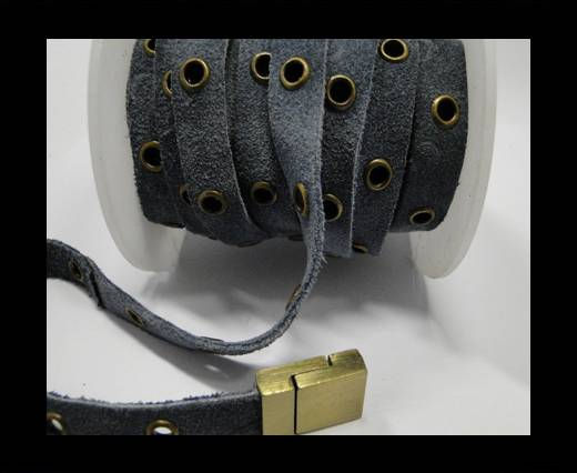 Real Suede Leather with Rivet -Grey -10mm