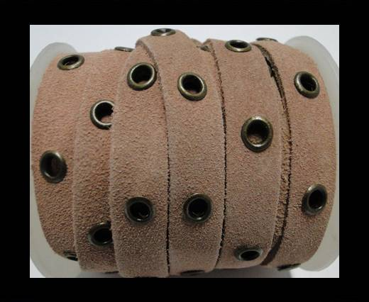 Real Suede Leather with Rivet -Light Pink-10mm