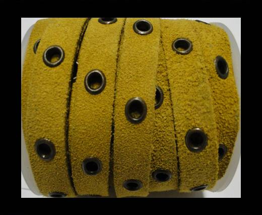 Real Suede Leather with Rivet -Yellow -10mm