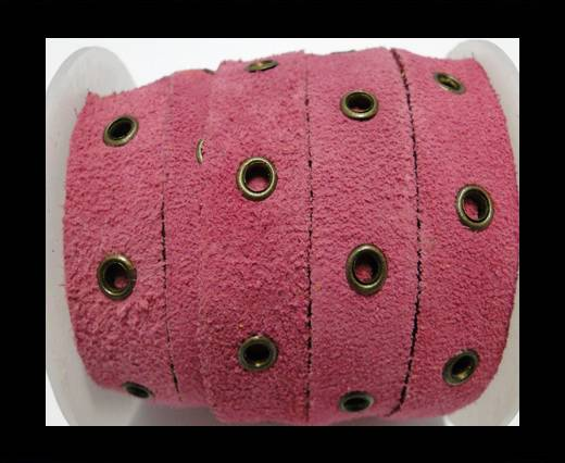 Real Suede Leather with Rivet -Pink -10mm