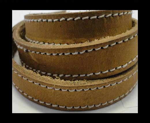 Real Vegetable Tanned Leather with stitch -14mm-SE-VT-Natural