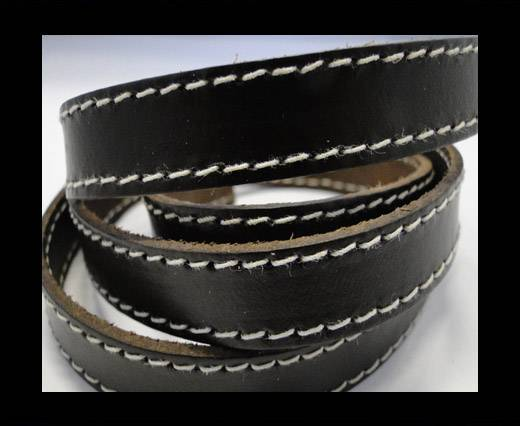 Real Vegetable Tanned Leather with stitch -14mm-SE-VT-Black
