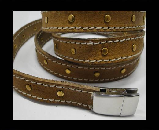 Real Vegetable Tanned Leather with stitch -14mm-Camel