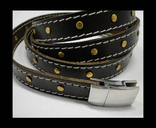 Buy Real Vegetable Tanned Leather with stitch -14mm-Brown 1 at wholesale prices