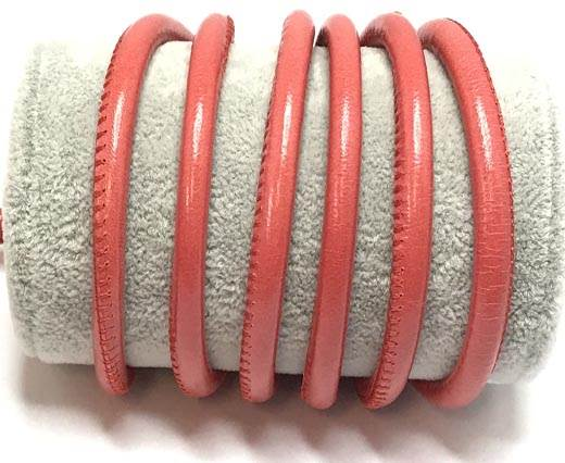 Round stitched nappa leather cord Red -6mm