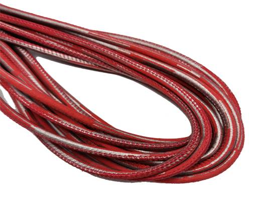 Round Stitched Nappa Leather Cord-4mm-Red silver