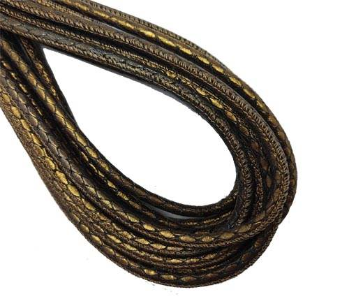 Round Stitched Nappa Leather Cord-4mm-reptile gold