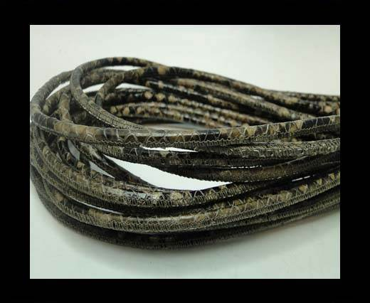 Buy Round stitched nappa leather cord 4 mm - Python Dark Brown at wholesale prices