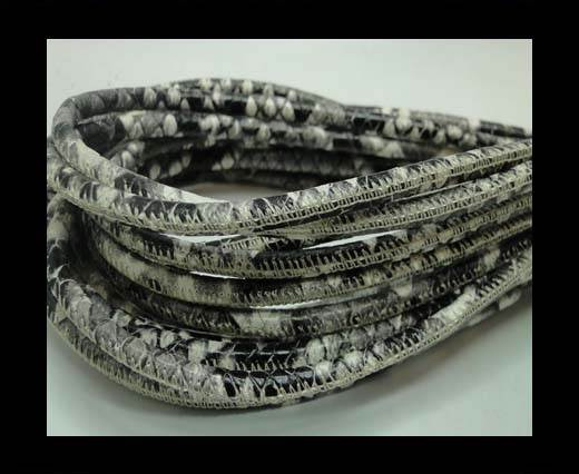 Buy Round stitched nappa leather cord 4 mm - Python grey at wholesale prices