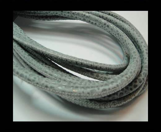 Buy Round stitched nappa leather cord 4mm - Round Stitch RAZA GREY + PAILL.TRANSP. at wholesale prices