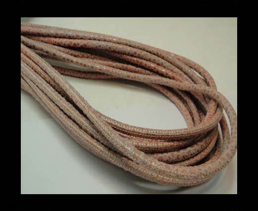 Buy Round stitched nappa leather cord 4mm - Round Stitch RAZA SALMON + PAILL. TRANSP. at wholesale prices