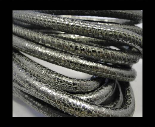 Round stitched nappa leather cord Silver - 6 mm