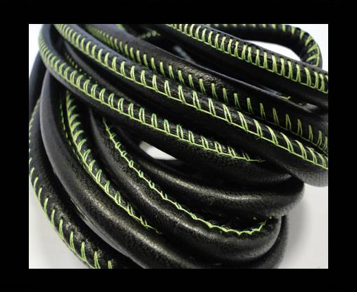 Round stitched nappa leather cord  Black - 6 mm