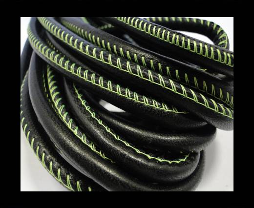 Buy Round stitched nappa leather cord Black - 4 mm at wholesale prices