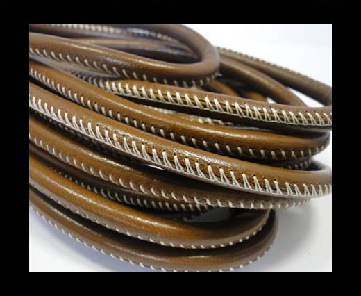 Buy Round stitched nappa leather cord Brown - 4 mm at wholesale prices