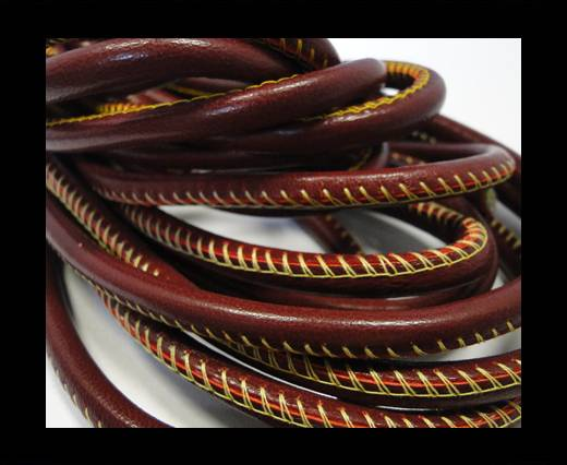 Buy Round stitched nappa leather cord Red -  4mm at wholesale prices