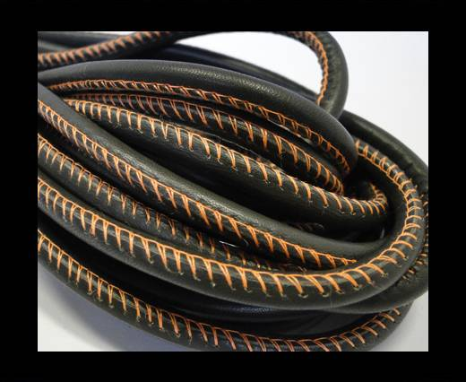 Buy Round stitched nappa leather cord Taupe - 4 mm at wholesale prices