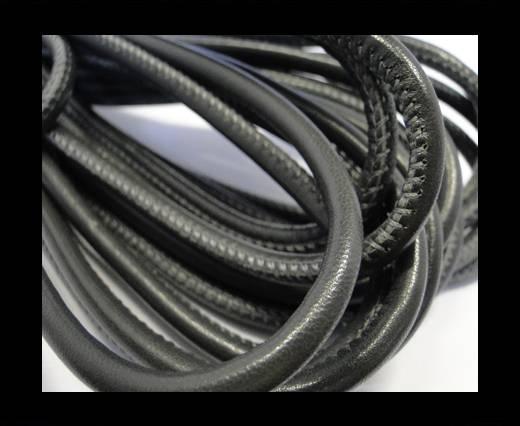 Round stitched nappa leather cord Metallic Black Grey - 6 mm