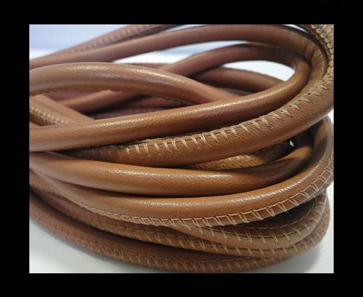 Round stitched nappa leather cord  Antique Brown - 6 mm
