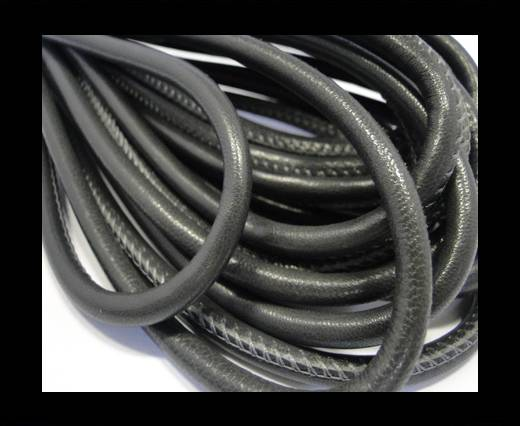 Round stitched nappa leather cord Plain Style - Black Grey - 6 mm