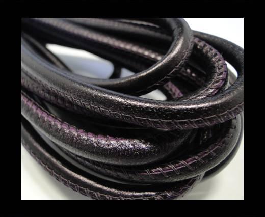 Round stitched nappa leather cord Metallic Purple - 6 mm