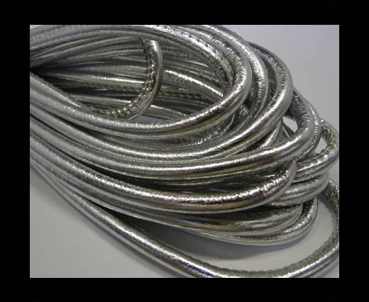 Round stitched nappa leather cord Metallic Silver -  6 mm