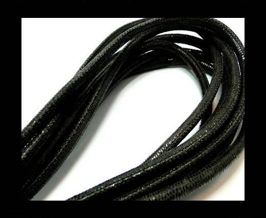 Round stitched nappa leather cord 6mm-Lizard Dark Brown