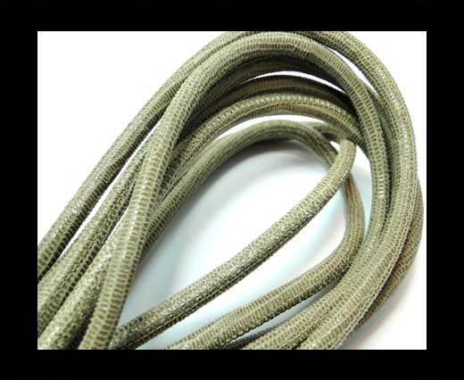 Round stitched nappa leather cord 6mm-Lizard sand