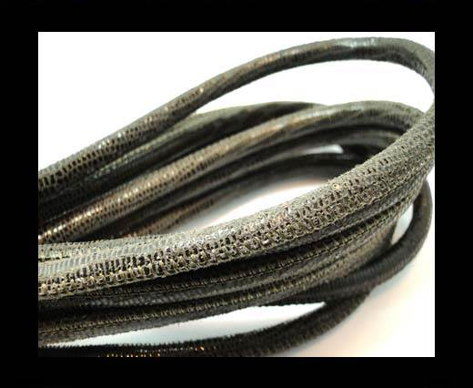 Round stitched nappa leather cord 6mm-Lizard Taupe