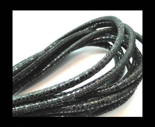 Round stitched nappa leather cord 6mm-Raza Black+ Paill. Transp