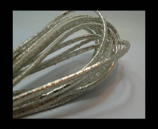 Buy Round stitched nappa leather cord 3mm-Python Platinum at wholesale prices