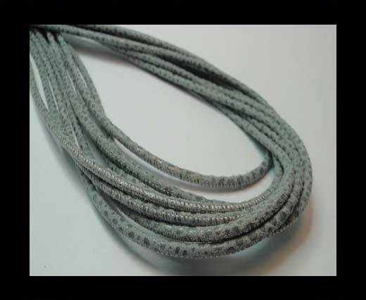 Buy Round stitched nappa leather cord 3mm-RAZA GREY + PAILL. TRANSP at wholesale prices