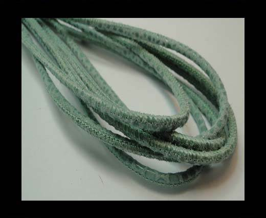 Buy Round stitched nappa leather cord 3mm-RAZA MINT + PAILL. TRANSP at wholesale prices