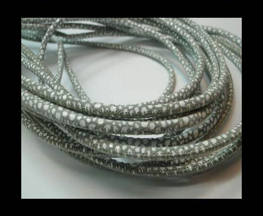Buy Round stitched nappa leather cord 3mm-RAZA SALVIA + PAILL. WHITE at wholesale prices