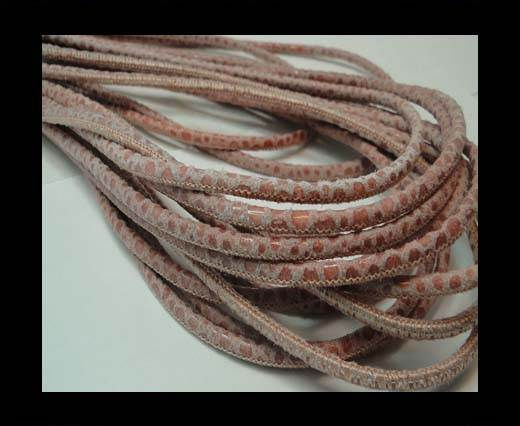 Buy Round stitched nappa leather cord 3mm-RAZASALMON + PAILL. TRANSP at wholesale prices
