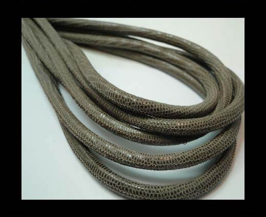 Round stitched nappa leather cord 6mm-LIZARD TAUPE +PAILL. TRANSP