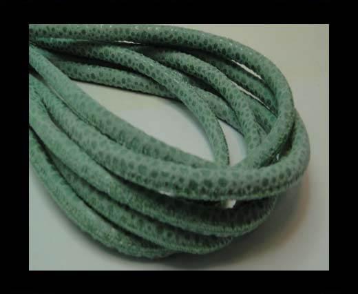 Round stitched nappa leather cord 6mm-RAZA MINT + PAILL. TRANSP