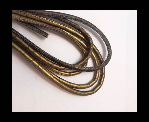 Round stitched nappa leather cord 6mm-MULTI BRONZE