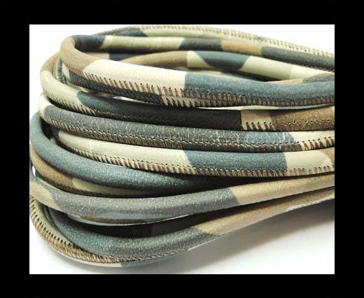 Buy Round stitched nappa leather cord 4mm-Camouflage beige blue at wholesale prices