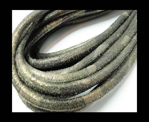Buy Round stitched nappa leather cord 4mm-Camouflage Bronze at wholesale prices