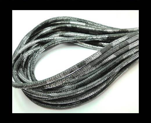 Buy Round stitched nappa leather cord 4mm-Camouflage silver at wholesale prices