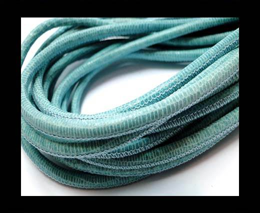 Buy Round stitched nappa leather cord 4mm-Lizard Blue Paill. transparent at wholesale prices