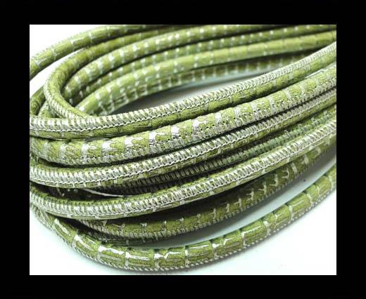 Buy Round stitched nappa leather cord 4mm-Lizard Green at wholesale prices