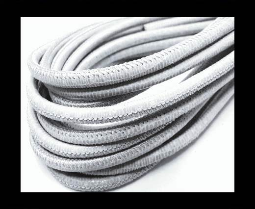 Buy Round stitched nappa leather cord 4mm-Lizard Grey Paill. Transp at wholesale prices