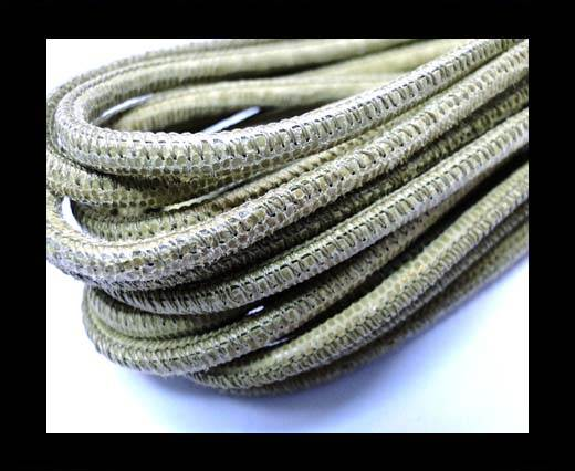 Buy Round stitched nappa leather cord 4mm-Lizard Olive Paill. Transp at wholesale prices