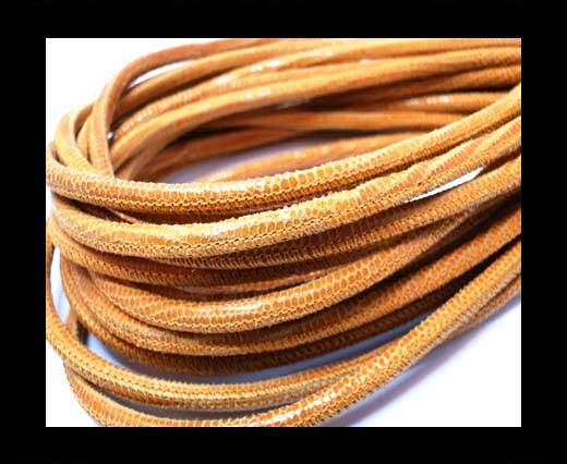Buy Round stitched nappa leather cord 4mm-Lizard Orange at wholesale prices