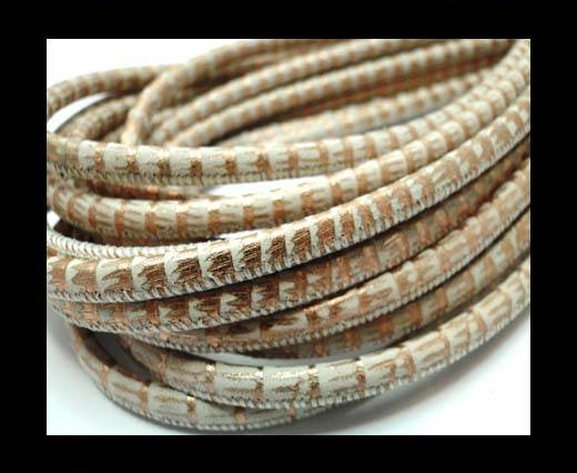 Buy Round stitched nappa leather cord 4mm-Lizard Rose Gold at wholesale prices
