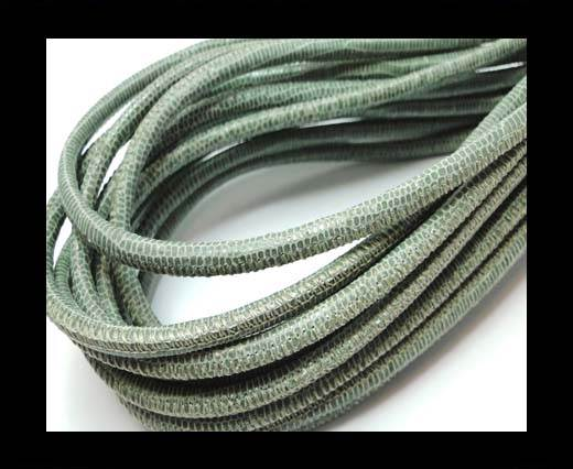Buy Round stitched nappa leather cord 4mm-Lizard Salvia Print at wholesale prices