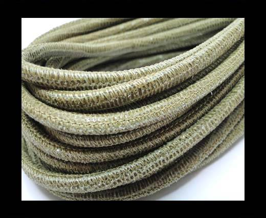 Buy Round stitched nappa leather cord 4mm-Lizard Send at wholesale prices